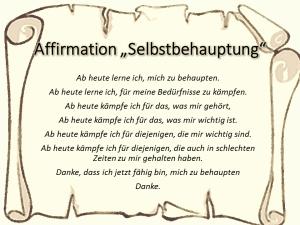 Affirmation Selbstbehauptung vision-neue-welt.com